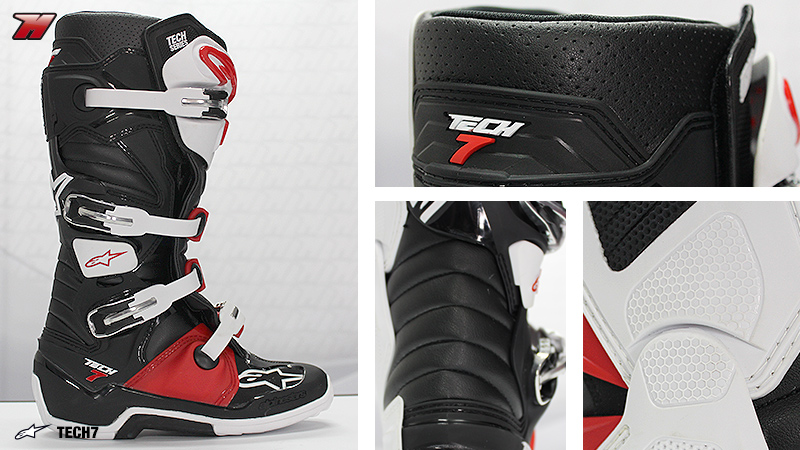 Alpinestar Tech 7 side view (left) plus details in the upper zone (top  right) 9b60f35315dd5