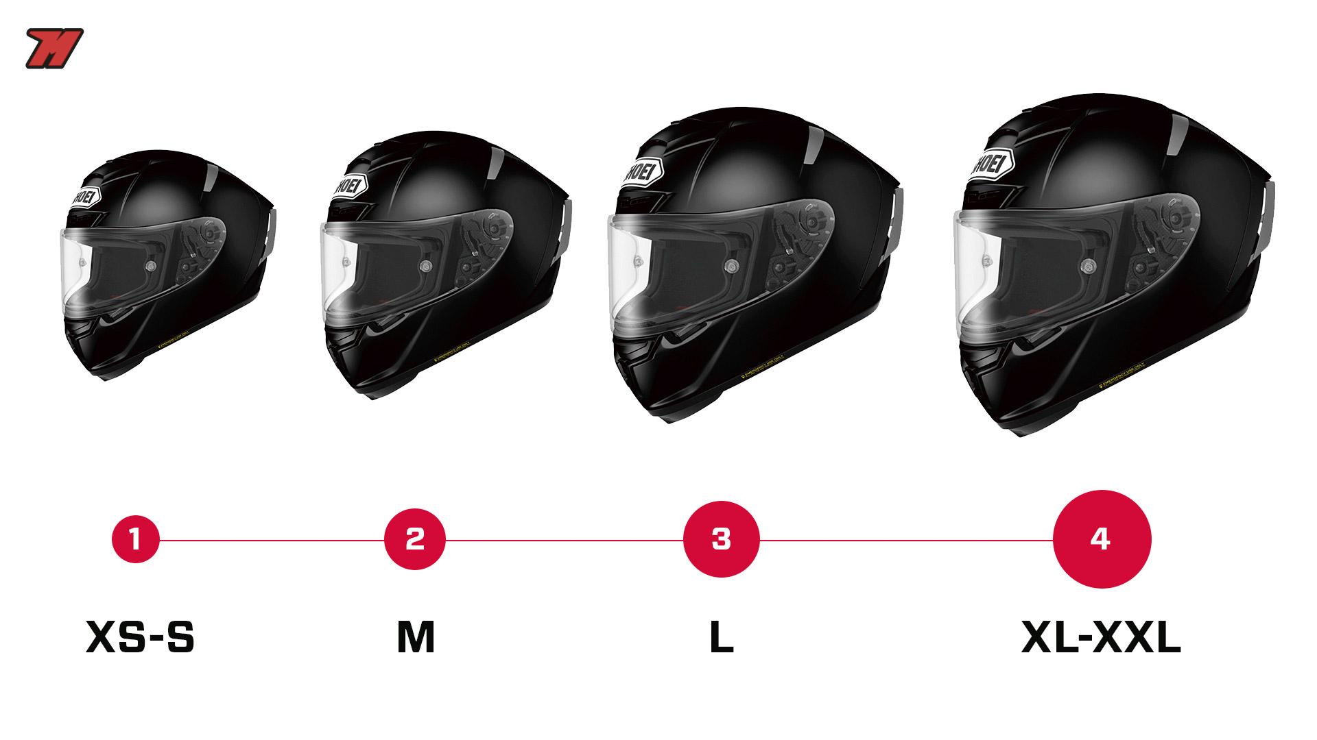 Un casque moto peut compter différentes tailles pour s adapter à la  meilleure morphologie possible de chaque pilote. 134fa8598bcc