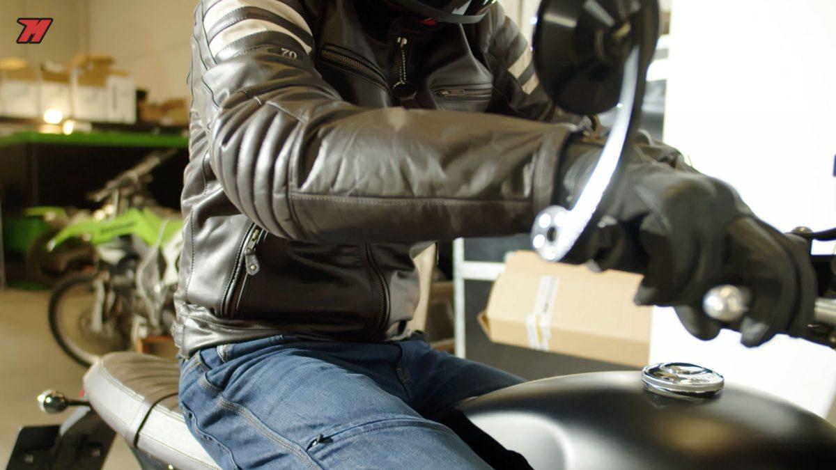 La chaqueta de moto vintage Segura Stripe es una gran elección.