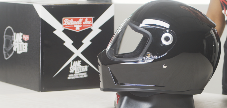 Biltwell Lane Splitter, a vintage full-face motorcycle helmet with an aggressive look