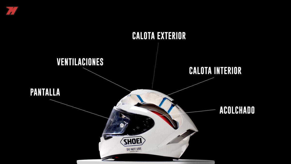 Estas son las principales partes de un casco de moto.
