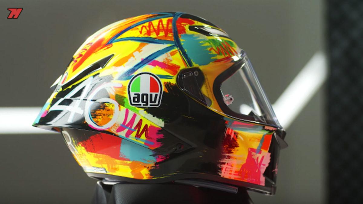 Este casco AGV está disponible en muchas gráficas, sobre todo de Valentino Rossi