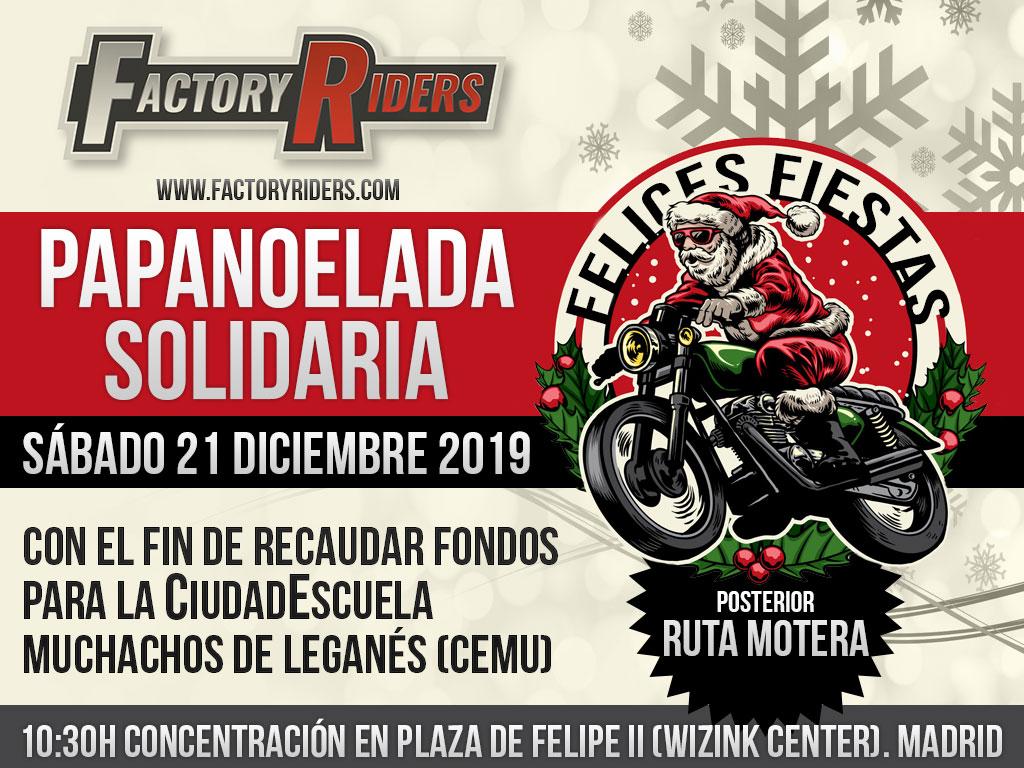 El motoclub Factory Riders organiza la Papanoelada 2019 en la capital madrileña